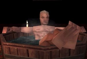 geralt-takes-a-nice-warm-bath-in-this-witcher-3-ps1-demake